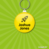 Image of bag tag personalised for kids school bags with icon and black text