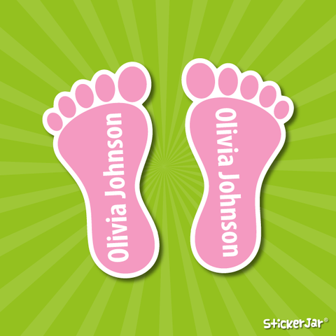 shoe name labels feet shaped