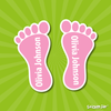 Image of shoe name labels feet shaped