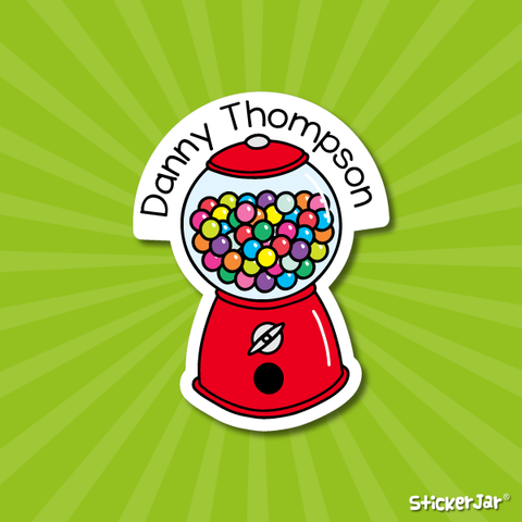 Gumball machine shaped vinyl name sticker