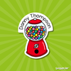 Image of Gumball machine shaped vinyl name sticker