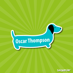 sausage dog dachshund stick on name labels