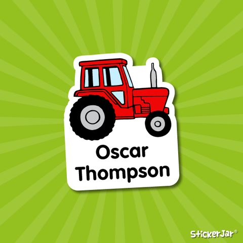 tractor stick on name labels for kids