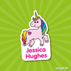 Image of unicorn name label pink with heart