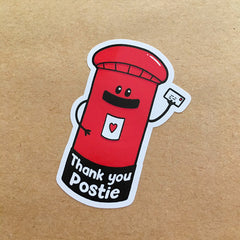 Post box shaped sticker - Thank you Postie