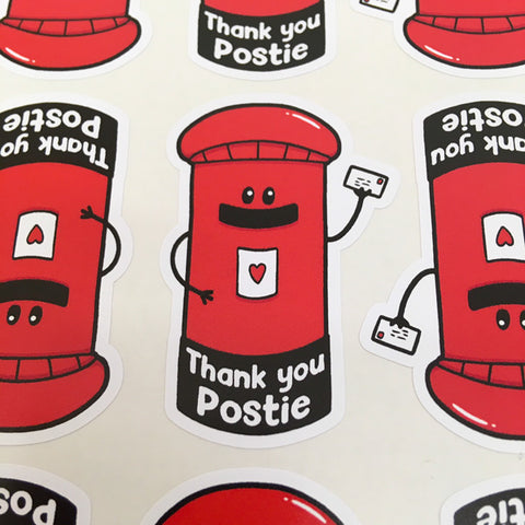 Post box shaped stickers to say thank you to postal workers