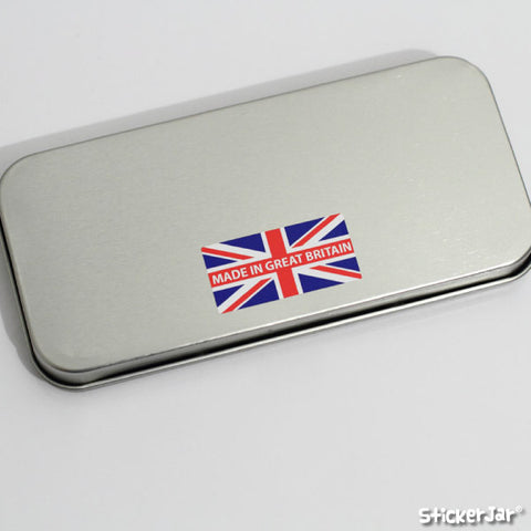 "A ""Made In Great Britain"" sticker on a tin box."