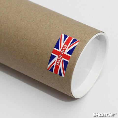 "A ""Made In UK"" label on a cardboard packaging tube."