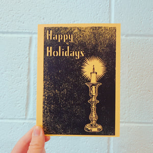 Hand Printed Folded Holiday card Candle yellow