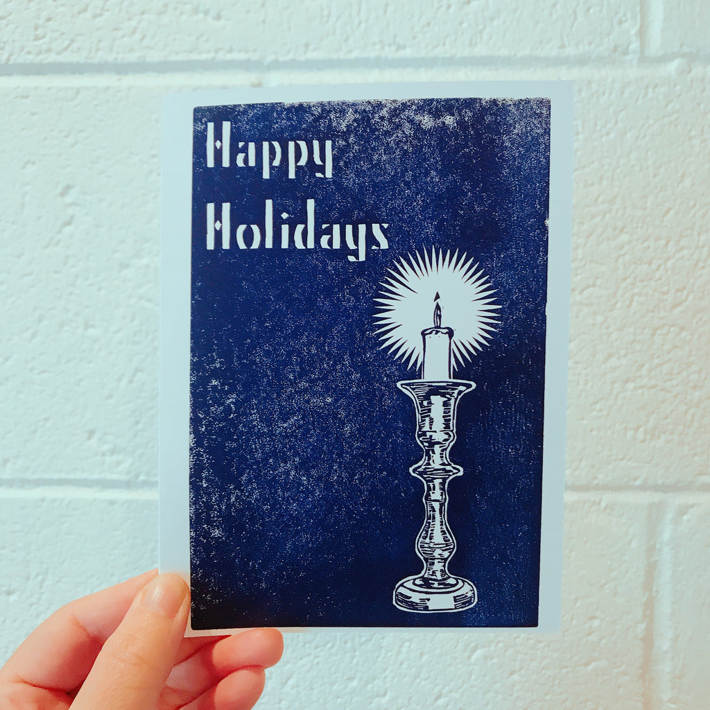 Hand Printed Folded Holiday card Candle white