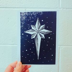 Hand Printed Folded Holiday Card Star white