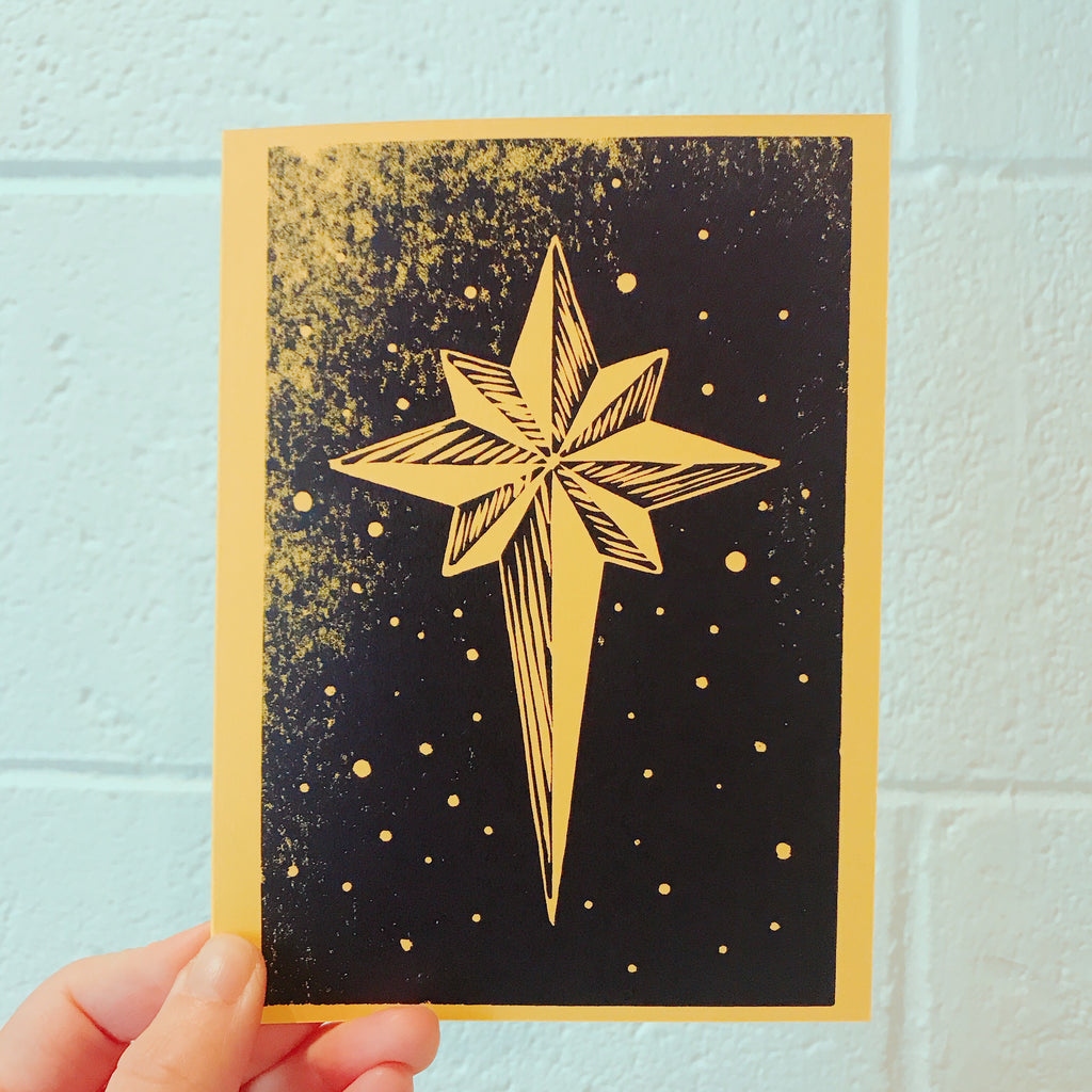 Hand Printed Folded Holiday card Star yellow