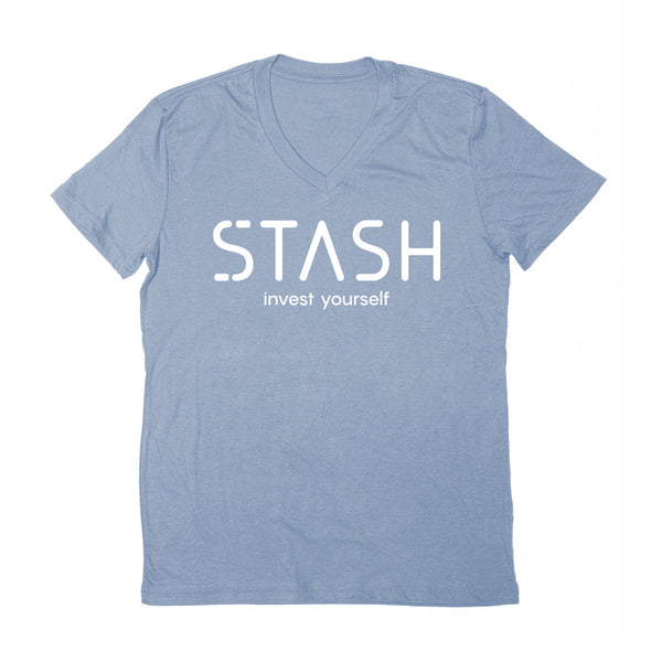 """Invest Yourself"" v-neck t-shirt in heather blue"