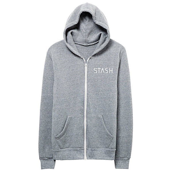 """Stash"" zip up hoodie in heathered gray"