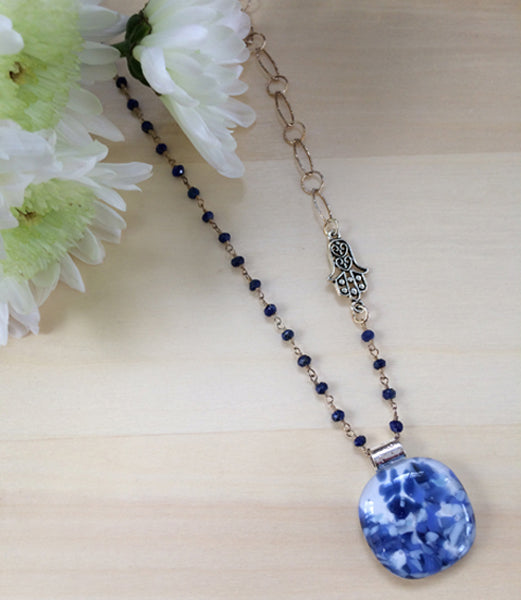 Stone Blue Cabochon with Duo Gem Stone & Large Silver Looped Chain & Hamsa