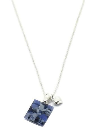 Stone Blue Tiny Necklace with Fine Sterling Silver Chain