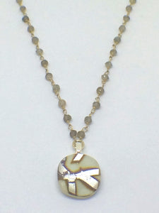 Small Cream Cabochon with Labradorite Gem Stone & Sterling Silver Chain