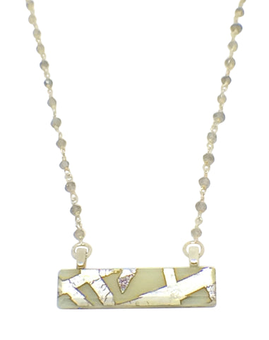 Cream Bar Necklace with Labradorite Gem Stone & Sterling Silver Chain