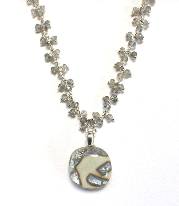 Dangle Cream Cabochon with Labradorite & Sterling Silver Chain Necklace