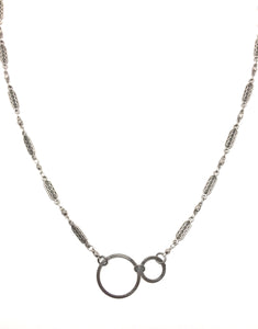 Double Circle Necklace with Heirloom Style Chain