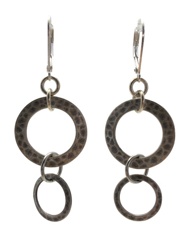 Double Hammered Silver Circle Earrings