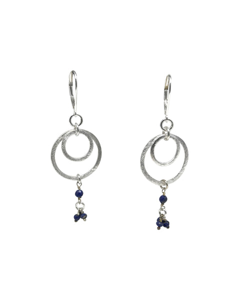 Double Shiny Silver Circles with Labradorite or Lapis Earrings