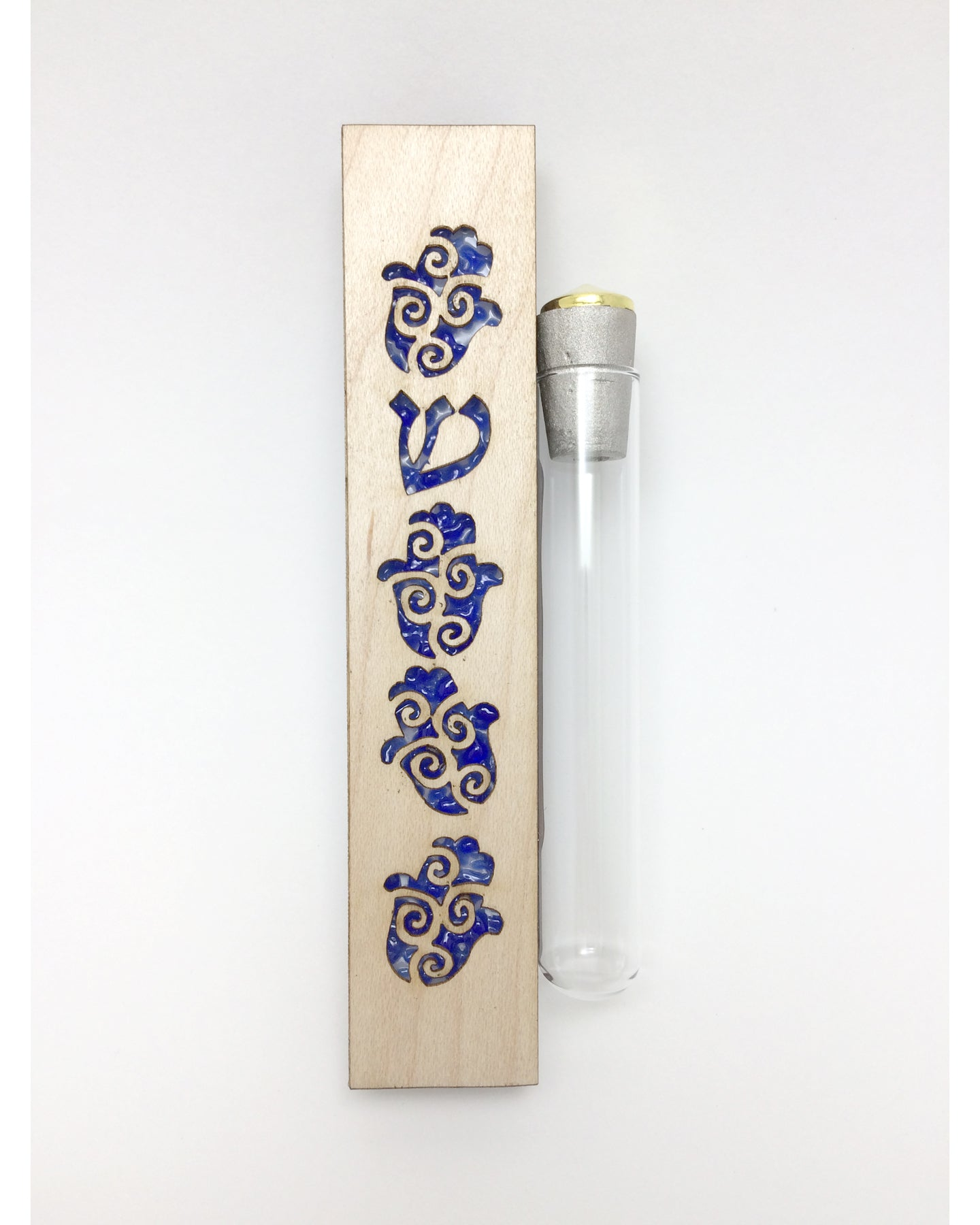 Jewish Wedding Keepsake Mezuzah for the shards from the break glass - Hamsa