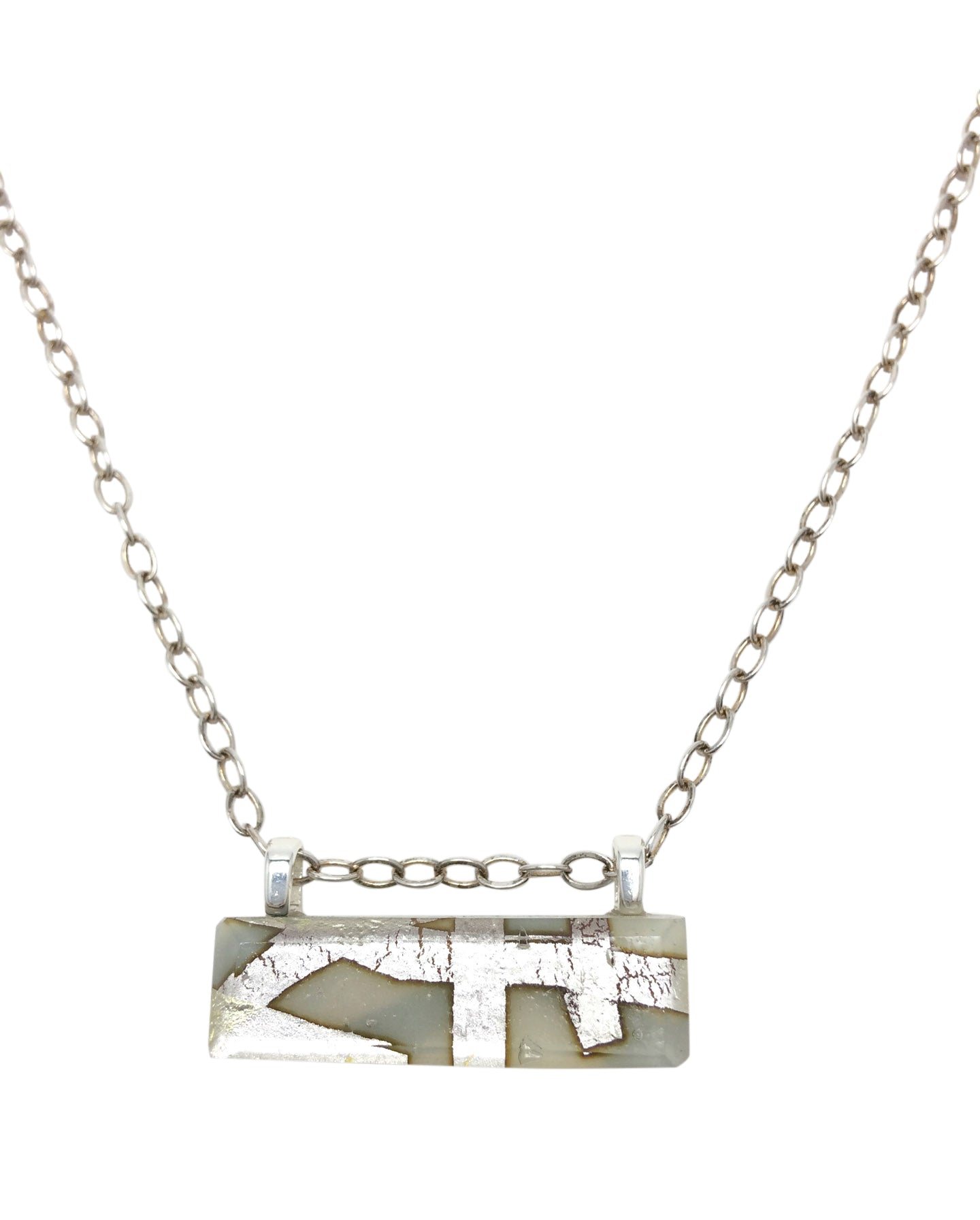 Cream Horizontal Bar Necklace with Sterling Silver Chain