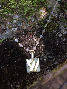 Cream Tiny Necklace with Sterling Silver & Labradorite Chain