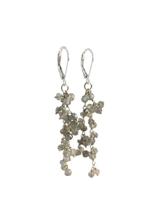 Cream Labradorite & Sterling Silver Dangle Earrings