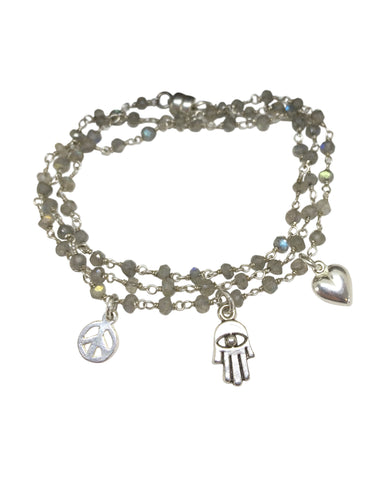 Peace, Love & Hamsa Labradorite Wrap Bracelet & Necklace