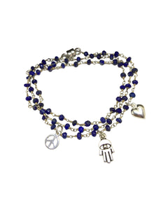 Peace, Love & Hamsa Lapis Wrap Bracelet & Necklace