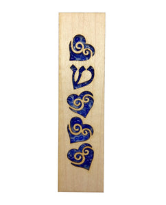 Mezuzah Laser Cut & Glass Hearts - Blue