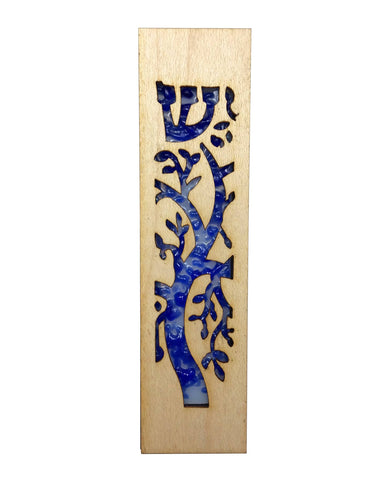 Mezuzah Laser Cut & Glass Tree of Life - Blue