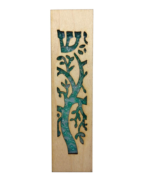 Mezuzah Laser Cut & Glass Tree of Life - Green