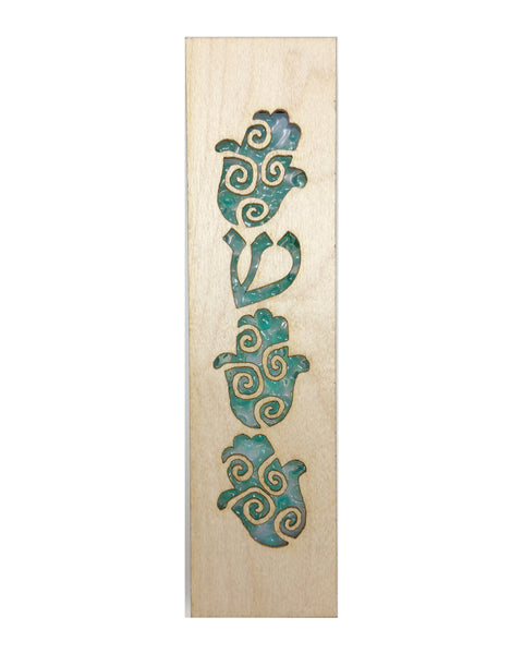 Mezuzah Laser Cut & Glass Hamsa - Green