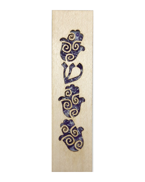 Mezuzah Laser Cut & Glass Hamsa - Purple