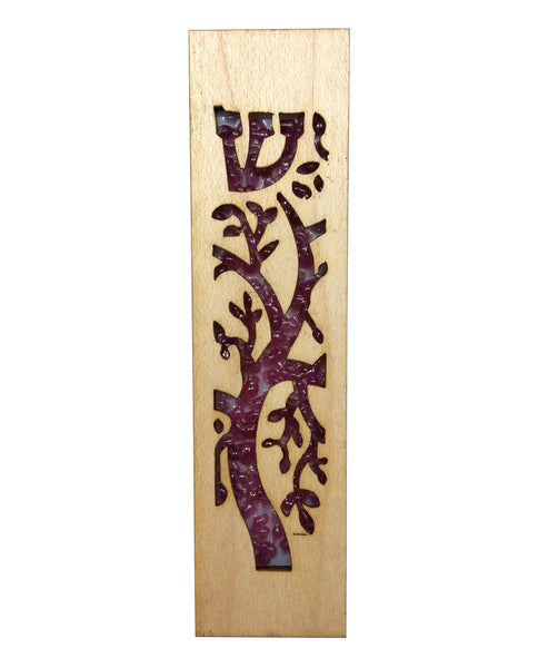 Mezuzah Laser Cut & Glass Tree of Life - Pink