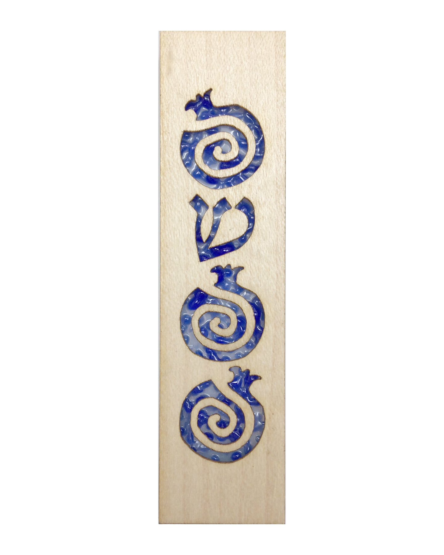 Mezuzah Laser Cut & Glass Pomegranates - Blue