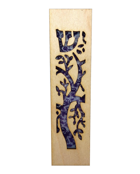 Mezuzah Laser Cut & Glass Tree of Life - Purple