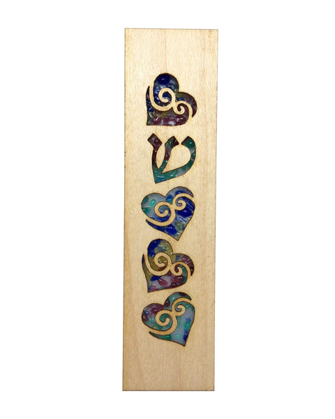 Mezuzah Laser Cut & Glass Hearts - Rainbow