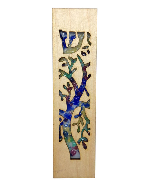 Mezuzah Laser Cut & Glass Tree of Life - Rainbow