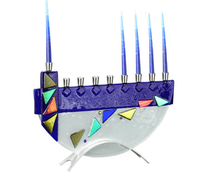 Menorah Mosaic Blue