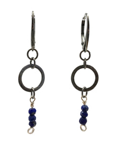 Oxidized Silver Earrings with Lapis