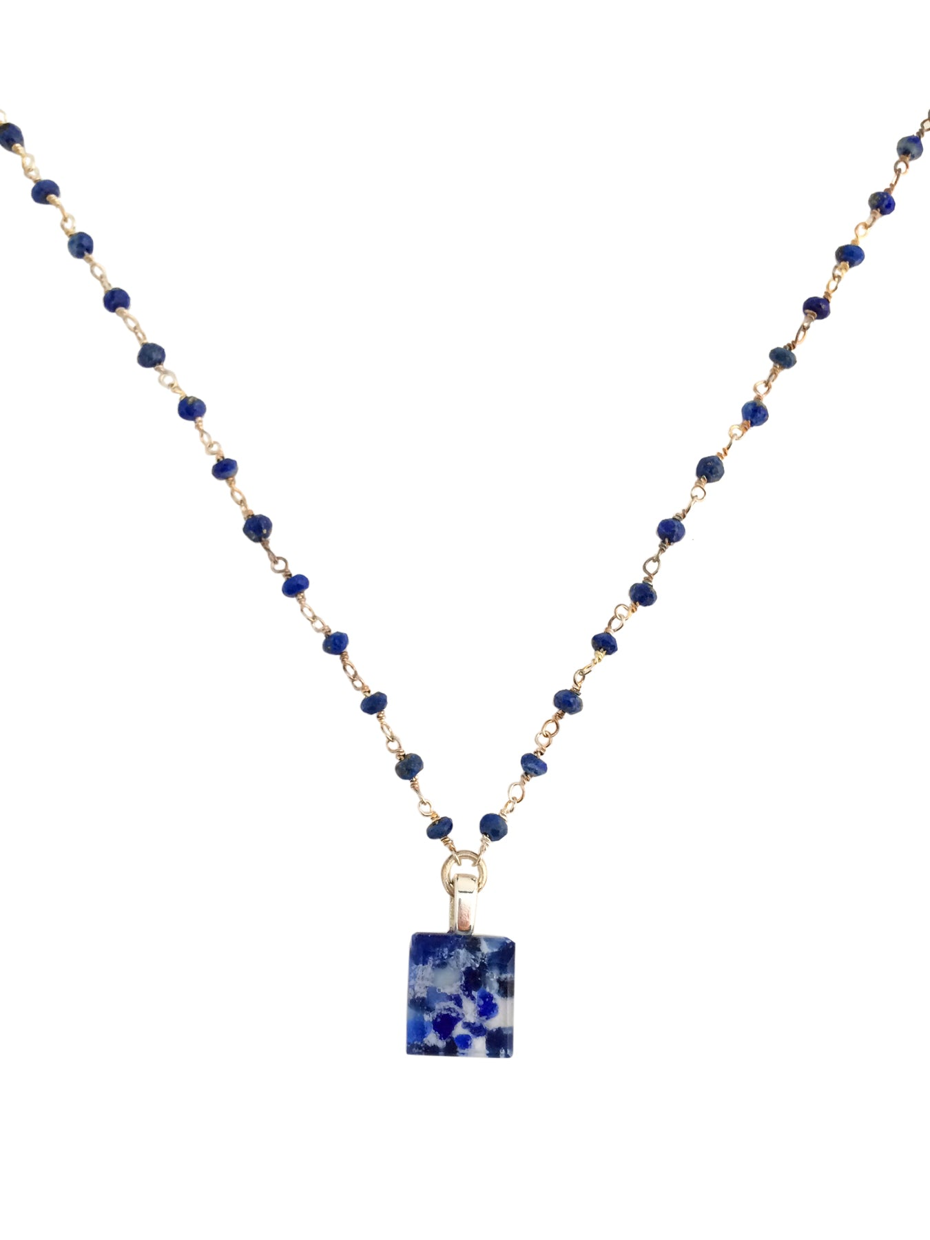 Tiny Fused Glass Stone Blue Necklace with Sterling Silver & Lapis Chain