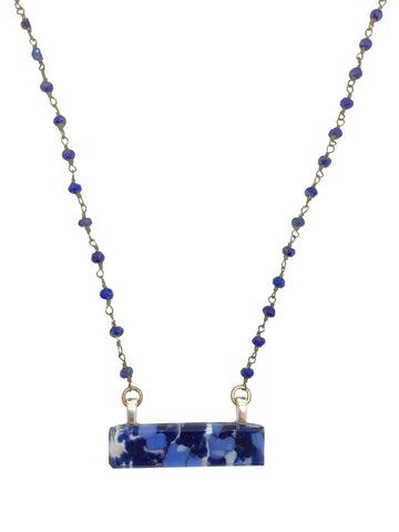 Stone Blue Bar Necklace with Lapis Gem Stone & Sterling Silver Chain