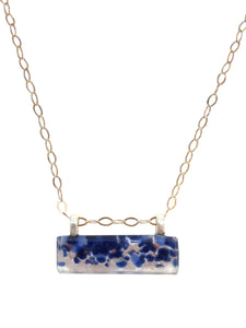 Stone Blue Horizontal Bar with silver chain necklace