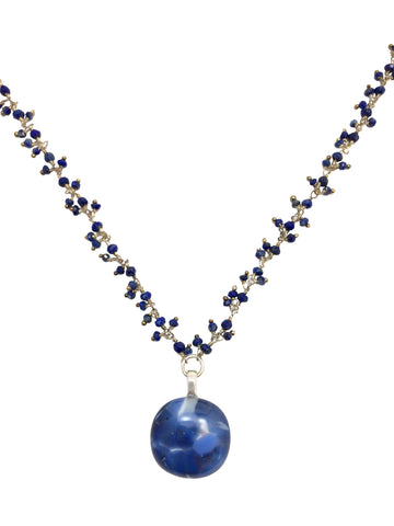 Stone Blue Fused Glass Cabochon Dangle Necklace with Lapis & Sterling Silver Chain
