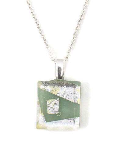Celadon Green Tiny Necklace with Fine Sterling Silver Chain