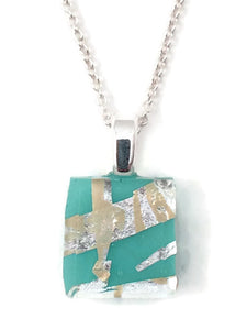 Turquoise Tiny Necklace with Fine Sterling Silver Chain
